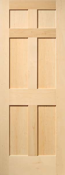 6 Panel Traditional Maple Door