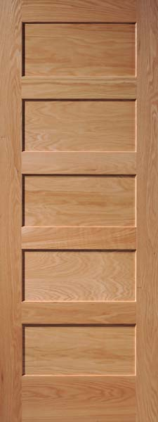 5-Panel Horizontal Oak Door & Interior Flat Panel Doors | Mission Style Doors | Interior Wood Doors Pezcame.Com
