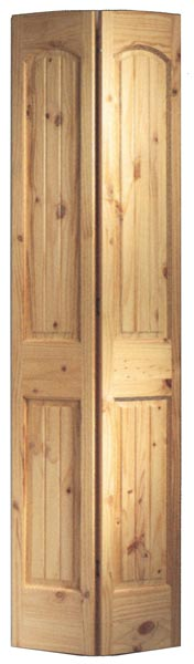 2-Panel Arch Knotty Pine Bifold & Pine V-Groove Interior Doors | Clear and Knotty Pine Interior Doors