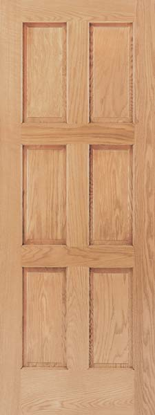 6 Panel Contemporary Oak Door